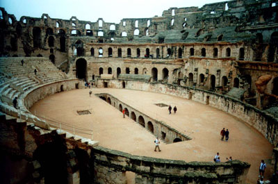 Interior view of the Coloseum in Rome