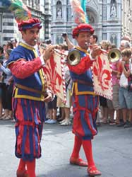 Folkloristic procession during Saint Lawrence day in Florence